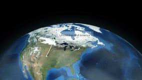 Het zoemen door ruimte aan een plaats in de animatie van Noord-Amerika - de Verenigde Staten van Amerika - Beeldhoffelijkheid van vector illustratie