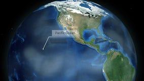 Het zoemen door ruimte aan een plaats op de aardeanimatie - Vreedzame Oceaan - Beeldhoffelijkheid van NASA vector illustratie