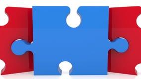 Het zoemen uit op drie stukken van raadsel op wit vector illustratie