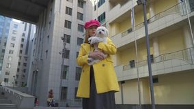 Het zoete blonde gezicht van dameoneffenheden op de hond bij de stad stock video