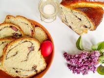 Het zoete brood van Pasen, cozonac Stock Foto's
