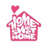 Het Zoete Huis van het huis Het vector lettring met huisvorm stock illustratie