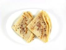 Het zoete ontbijt van de pannekoek stock fotografie