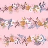 Het zoete retro de Zomer tropische exotische bos met bloeiende de zomerbloemen en de vruchten leiden tot in ontwerp van de lijn h stock illustratie