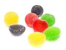 Het zoete suikergoed van de fruitkleur op wit Royalty-vrije Stock Foto