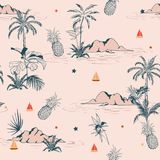 Het zoete uitstekende tropische naadloze patroon van het de zomereiland op roze bedelaars vector illustratie