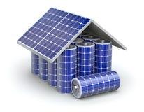 Het zonneconcept van de huisbatterij Stock Afbeeldingen