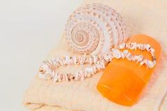 Het zonnescherm van de nevelfles, handdoek, shells Royalty-vrije Stock Foto's