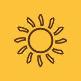 Het zonneschijnpictogram Zonsopgang en zonneschijn, weer, zonsymbool Ui web embleem teken Vlak Ontwerp app voorraad Royalty-vrije Stock Afbeelding