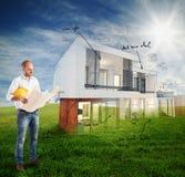 Het zonnige huis van het dagproject stock fotografie
