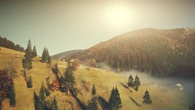Het zonnige satellietbeeld van het de herfst bergachtige landschap stock footage