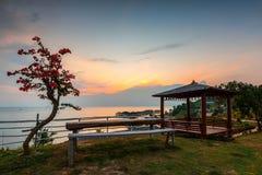 Het Zonsondergangogenblik bij SBS-het Eiland Indonesië van Toevluchtbatam stock foto