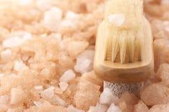 Het zout en de borstel van het bad Stock Fotografie