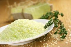Het zout en de zeep van het bad Royalty-vrije Stock Foto