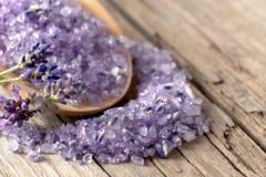 Het zout van het lavendelbad Royalty-vrije Stock Afbeelding