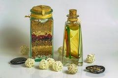 Het Zout van La Dispensa met Kruiden en Kruiden royalty-vrije stock afbeeldingen