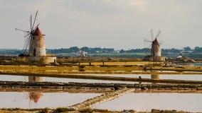 Het zout van marsala in noordelijk Sicilië stock afbeelding