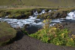 Het zuidelijke landschap van IJsland met ijzige rivier Stock Afbeelding