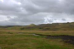 Het zuidelijke landschap van IJsland met vulkanische outwash Stock Foto's