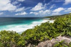 Het Zuidenkust van La Digue, Seychellen Stock Afbeeldingen