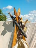 Het zwaard en de hoorn van Vikingen Royalty-vrije Stock Foto