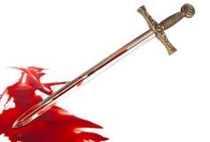 Het zwaard van de ridder in het bloed stock afbeeldingen