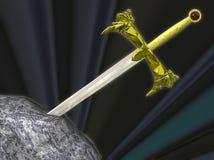 Het zwaard van Thw in de steen Royalty-vrije Stock Foto