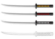 Het zwaard vectortekening van samoeraien Stock Afbeelding