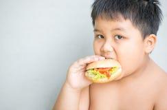 Het zwaarlijvige vette jongenskind eet kippenhamburger Stock Afbeeldingen
