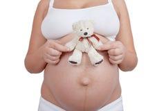 Het zwangere in hand witte stuk speelgoed van de vrouwengreep draagt Stock Fotografie