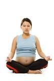 Het zwangere vrouw mediteren Stock Afbeelding