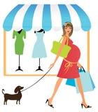 Het zwangere vrouw winkelen Royalty-vrije Stock Foto's