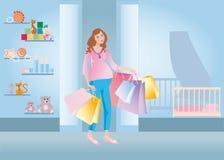 Het zwangere winkelen Vector Illustratie