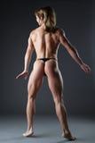 Het zware de vrouw van de lichaamsbouwer naakt stellen Stock Foto
