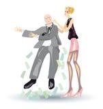 Het zware leven van blonde, Meisje schudt uit een geld Stock Illustratie