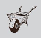 Het is zwart-wit illustratie van kruiwagen Royalty-vrije Stock Foto