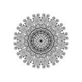 Het zwart-wit ornament van de mandala uitstekende decoratieve werveling van de silhouetbloem vector illustratie