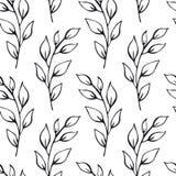 Het zwart-witte blad vertakt zich naadloos patroonmonster Royalty-vrije Stock Afbeelding