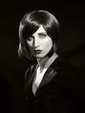 Het zwart-witte klassieke Hollywood-portret van de stijlglamour van Th Royalty-vrije Stock Fotografie