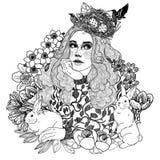 het zwart-witte meisje van de lentepasen royalty-vrije illustratie