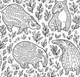 Het zwart-witte naadloze patroon van beeldverhaaltapirs De inkttapirs met strepen in doorbladert Vector illustratie Royalty-vrije Stock Afbeeldingen