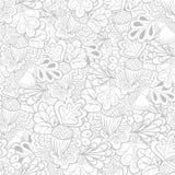 Het zwart-witte naadloze patroon van overzichts eiken elementen royalty-vrije illustratie