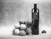 Het zwart-witte nog-leven met wijn en fruit stock afbeelding