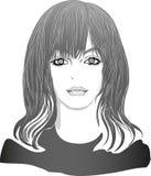 Het zwart-witte portret van het Animemeisje vector illustratie