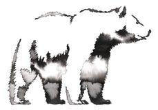 Het zwart-witte schilderen met water en de inkt trekken beerillustratie Royalty-vrije Stock Afbeeldingen