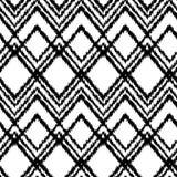 Het zwart-witte van de de chevronstof van het ikatornament geometrische naadloze patroon, vector Stock Afbeelding