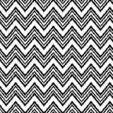 Het zwart-witte van de de chevronstof van het ikatornament geometrische naadloze patroon, vector Royalty-vrije Stock Foto