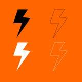 Het zwart-witte vastgestelde pictogram van de symboolelektriciteit Stock Afbeelding