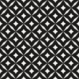 Het zwart-witte vector abstracte naadloze patroon met net, diamantvormen, sterren, ruiten, rooster, herhaalt tegels Royalty-vrije Stock Afbeeldingen
