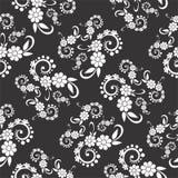Het zwart-witte vectorbeeld en naadloos herhaalt patroonontwerp Stock Afbeelding